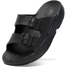 Chenghe Unisex Arch Support Comfort Slides Double Buckle Adjustable Recovery EVA Flat Sandals for Men Women