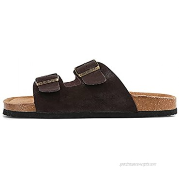 PercyButtons Mens Arizona Soft Cork Footbed Leather Sandals Arch Supprot With Adjustable Buckle Straps