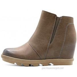 Athlefit Wedge Booties for Women with Heel Womens Booties Ankle Boots Hidden Wedge Boots