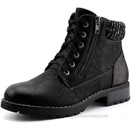JABASIC Women Lace up Ankle Booties Side Zipper Combat Boots