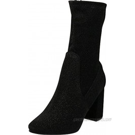Cambridge Select Women's Closed Round Toe Soft Stretch Sock Style Chunky Block Heel Mid-Calf Boot
