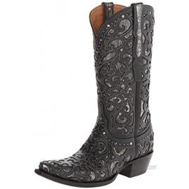 Lucchese Bootmaker Womens Sierra Calf Snip Toe Western Cowboy Dress Boots Mid Calf Low Heel 1-2 Black