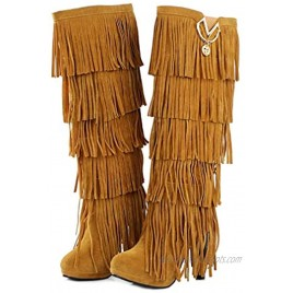 Bubumei Womens Fringe Tassel Stiletto Boots Faux Suede Moccasin High Heel Western Cowboy Knee High Boot
