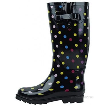 Cambridge Select Women's Pattern Print Colorful Waterproof Welly Rain Boots