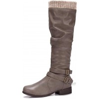 CAMEL CROWN Women's Faxu Suede Knee High Slouch Boots Wide Calf Low Block Heel Winter Riding Boots with Zipper Buckle Strap