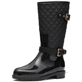 CAMFOSY Rain Boots for Women Womens Tall Rain Boots Knee High Boots Wide Width Waterproof Garden Shoes Rain Footwear with Buckle Stylish Lightweight Outdoor Work Shoes Riding Fishing Black 7 M US