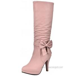 Skapee Women Stiletto Heels Knee High Slouch Boots Zipper