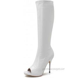 Women's Knee High Boots Patent Leather PU Peep Toe Side Zipper Stiletto Thigh High Boots High Heels Long boots