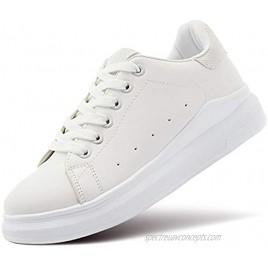 ZGR Women's Fashion Sneakers White PU Leather Platform Sneaker for Women Lace Up Walking Shoes