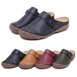 Solacozy Clogs Shoes for Women Slip on Mules Casual Summer Slippers Handmade Clogs and Mules Soft Beach Sandals Ladies Flowers Summer Shoes