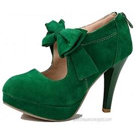 JimysCo Women's Classic Vintage Small Bow Platform High Heel Pumps Shoes