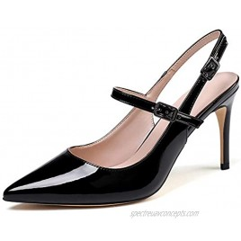 Mettesally Women's Slingback Pumps 8cm Stilettos Pointed Closed Toe Sandals Shoes Mary Jane High Heel Shoes
