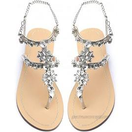 Odema Women's Crystal Diamond Flat Sandals Rhinestone Bohemia Flip Flops Beach T-Strap Shoes