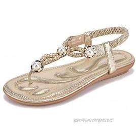 Women's Comfortable Bohemia Flip Flops Flat Sandals Open Toe Rhinestone Fashion Walking Beach Beaded Thong Slides Slippers