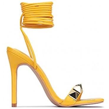 Cape Robbin Aigo Sexy Stiletto High Heels for Women Square Open Toe Shoes Heels