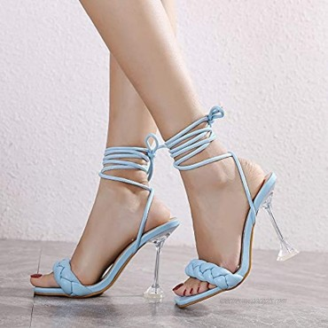 Shoe'N Tale Womens Fashion Open Toe Pearl Clear Stiletto Pump High Heeled Single Band Ankle Strap Dress Gladiator Sandals