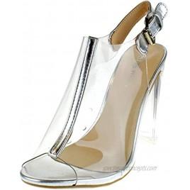 TOP Moda Fenton 1 Womens Clear Chunky Heel Peep Toe Lucite Sandals