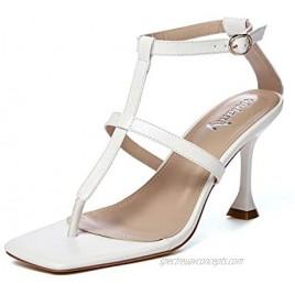vivianly Womens Open Toe Thong Ankle Strap Heel Sandals Stiletto Heels Dress Shoes