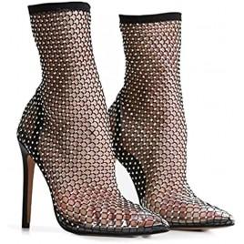 Women Bling Rhinestones Multi Colour Diamante Detail Stiletto Heel Ankle Sock Boot In Black Fishnet Pointed Toe Heeled Sandals Shoes