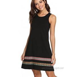Romwe Women's Summer Boho Sleeveless Embroidered Hem Loose Casual Tank Dress