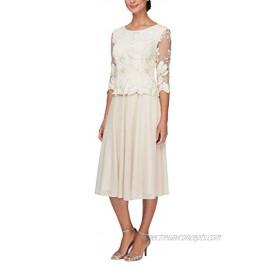 Alex Evenings womens Tea Length Sequin Mock Dress Petite and Regular