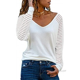 Actloe Womens Casual V Neck Tops Long Sleeve Shirts Striped Sheer Mesh Patchwork Blouses and Tops