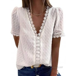 Dokotoo Women's V Neck Lace Crochet Tunic Tops Flowy Casual Blouses Shirts