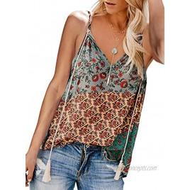 Eytino Women Floral Printed V Neck Strappy Tank Tops Loose Casual Sleeveless Shirts BlouseS-2XL