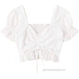 Floerns Women's Plus Size Summer Square Neck Bardot Crop Top Drawstring Front Blouse
