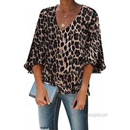 GOSOPIN Women V Neck Bell Sleeve Shirt Loose Button Down Blouse Tops