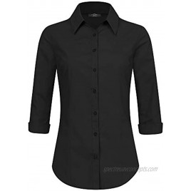 Made By Johnny Women's Solid 3 4 Sleeve Stretchy Button Down Collared Office Formal Casual Blouse S~3XL