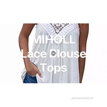 MIHOLL Womens Summer Casual Sleeveless Tops Lace Flowy Loose Shirts Tank Tops
