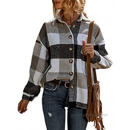 UANEO Womens Casual Plaid Button Down Long Sleeve Wool Blend Shirt Jacket Shackets