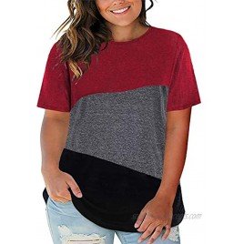 Happy Sailed Womens Plus Size Tops Short Sleeve Round Neck Casual Basic Tshirts Solid Tunic Blouses 1X-5X