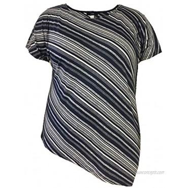 LEEBE Women's Asymmetrical Striped Top S-3X