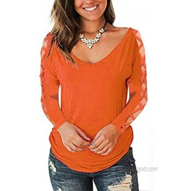 Misakia Women's T-Shirts Long Sleeve V-Neck Blouses Loose Casual Tops with Front Pocket