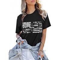 oten Womens American Flag Print T-Shirt 4th of July Patriotic Shirt Casual Stars Stripes Print Tops Tees