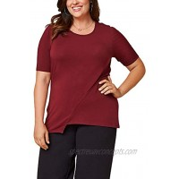 Seek No Further by Fruit of the Loom Women's Plus Size Scooped Neck Ruched Top