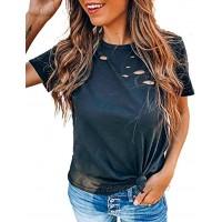 Shawhuwa Womens Short Sleeve Shirts Top Tee Loose Fit Basic Summer Trendy T-Shirt Basic Tops