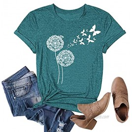 Women Vintage Butterfly Moon Graphic Shirts Funny Dandelion Casual Short Sleeve Summer O-Neck Tops Tee