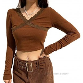 Womens Long Sleeve Lace Shirts Color Block Patchwork Crop Tops Girls Summer Streetwear y2k Fashion Tees