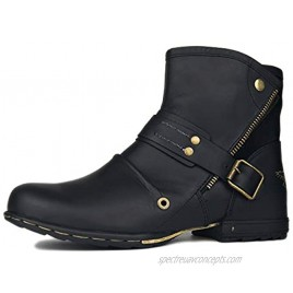 OSSTONE Moto Boots for Men Fashion flap with hook fasteners Leather Chukka Boots Casual Shoes OS-5008-7