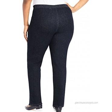 JUST MY SIZE Womens 2-Pocket Flat-Front Jeans Average Length 3X Dark Indigo
