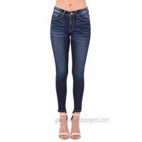 Kan Can Women's Mid Waist Skinny Fit Denim Jeans