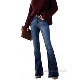 LONGBIDA Skinny Bell Bottom Jeans High Waisted Stretch Straight Slim Fit Denim Pants