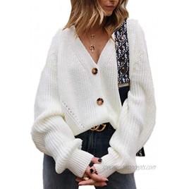 Asskdan Women's V Neckline Button Down Knitwear Lantern Sleeve Basic Knit Cardigan Sweater Tops