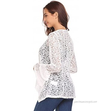 Dealwell Women's Bell Sleeve Open Front Cardigans Lace Crochet Loose Casual Cover Up