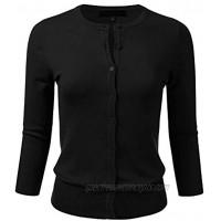 FLORIA Women's Button Down 3 4 Sleeve Crew Neck Knit Cardigan Sweater S-3X
