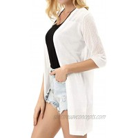 KANCY KOLE Women's Summer Cardigan Sweater 3 4 Sleeve Open Front with Hollowed Out Design