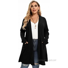 LARACE Open Front Knit Cardigan Sweaters for Women Plus Size Long Sleeve Tops with Pockets Lightweight for Winter